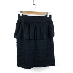 Anthropologie Skirts - SALE Anthro Knitted & Knotted Black Peplum Skirt M